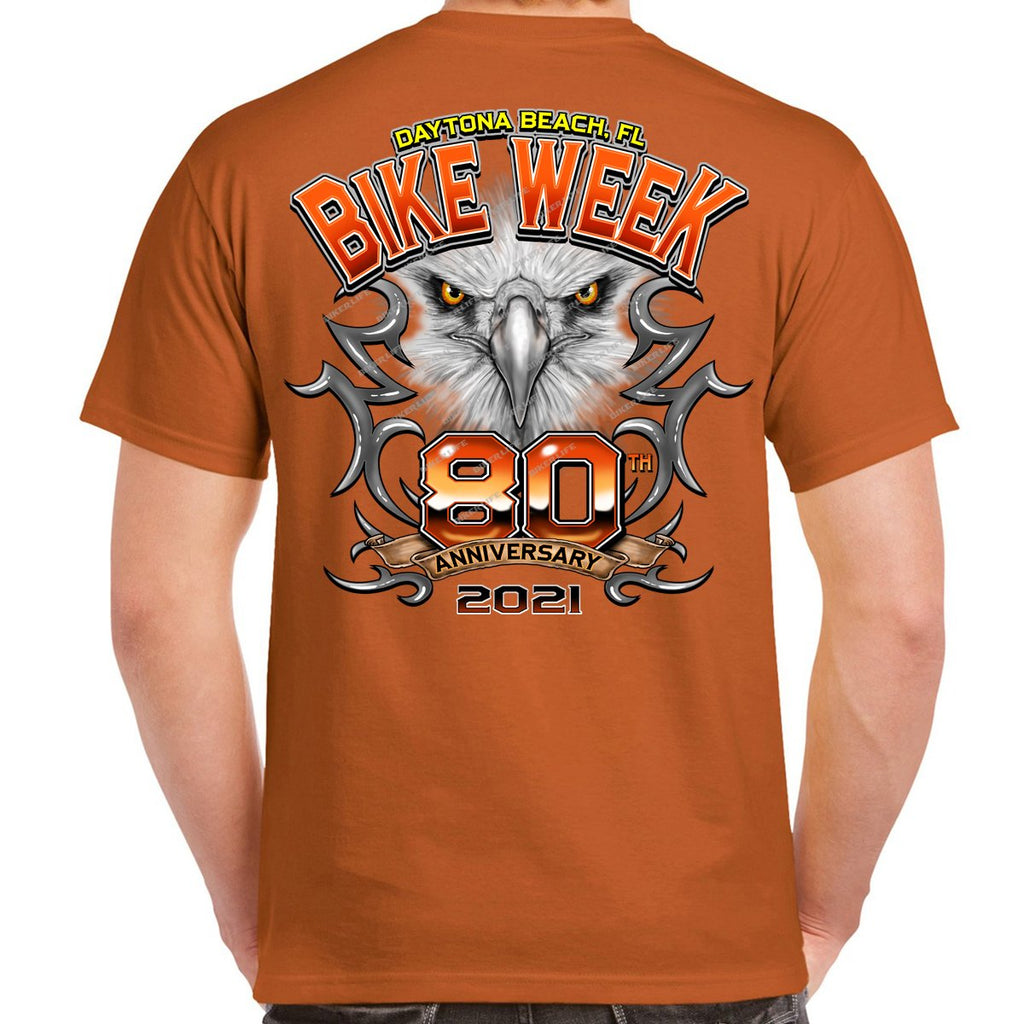 2021 Bike Week Daytona Beach 80th Anniversary Chrome Eagle T-Shirt