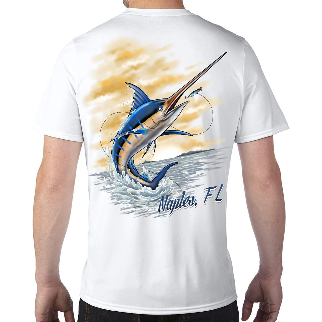 Naples, FL Marlin Performance Tech T-Shirt