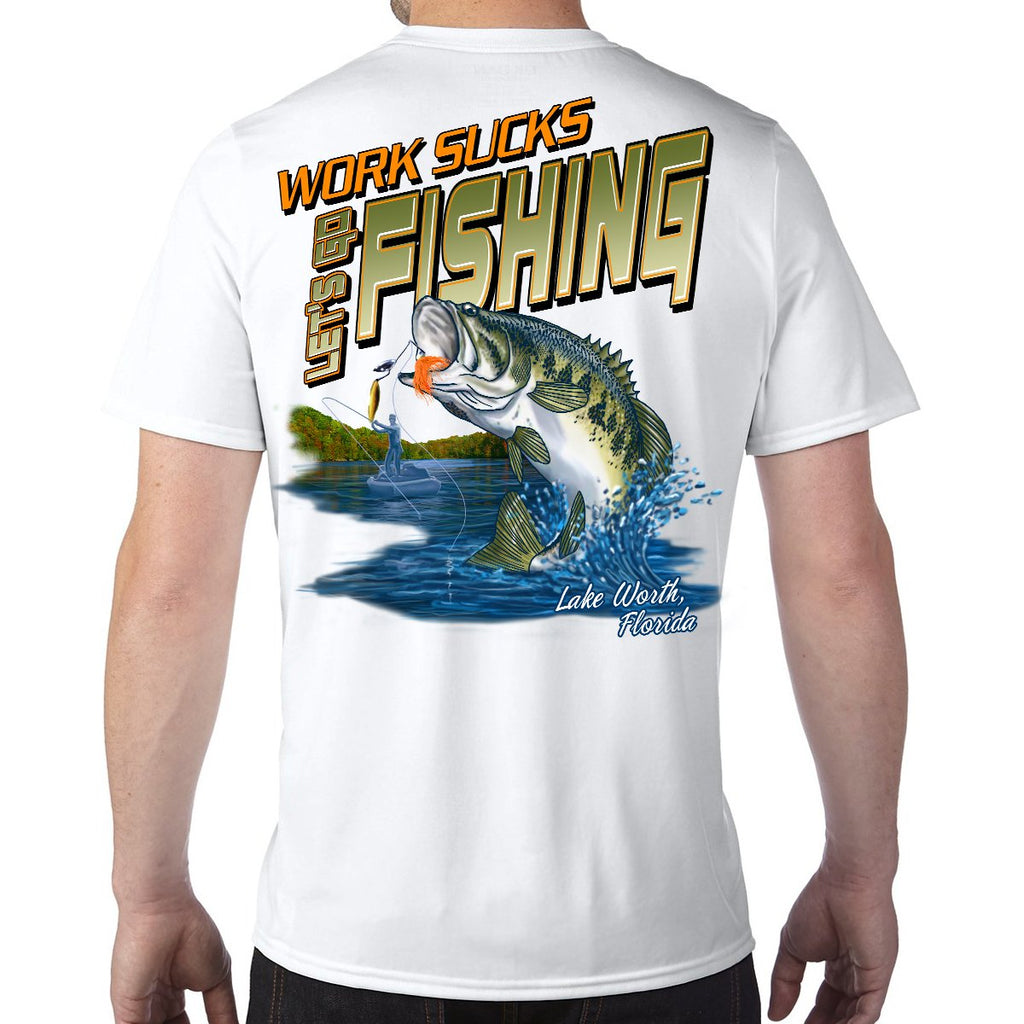 Lake Worth Beach, FL Work Sucks, Let's Go Fishing Performance Tech T-Shirt