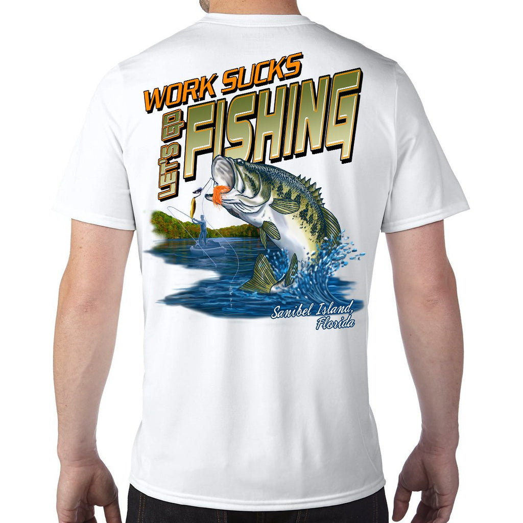 Sanibel Island, FL Work Sucks, Let's Go Fishing Performance Tech T-Shirt
