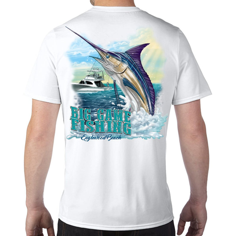 Englewood Beach, FL Big Game Fishing Performance Tech T-Shirt