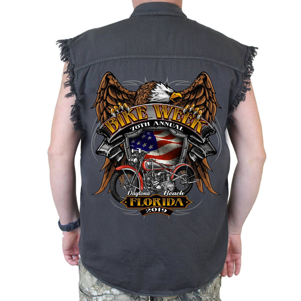 2019 Bike Week Daytona Beach Rebel Rider Cut-Off Denim