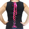 Ladie's Sleeveless Lace-Up Ribbon Back Rhinestones Biker Babe