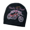 Hardly An Angel Motorcycle Knit Rhinestone Beanie