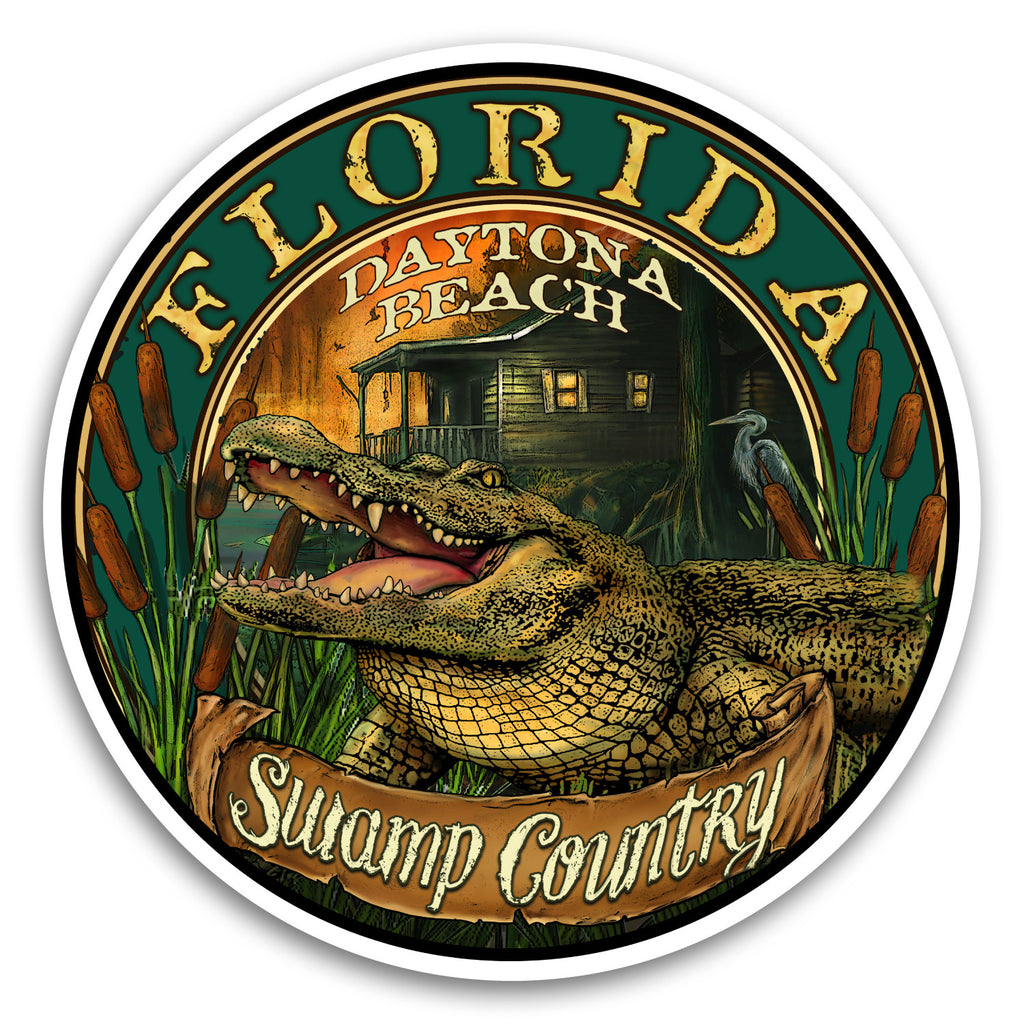 "Daytona Beach, FL Gator 4"" Sticker"
