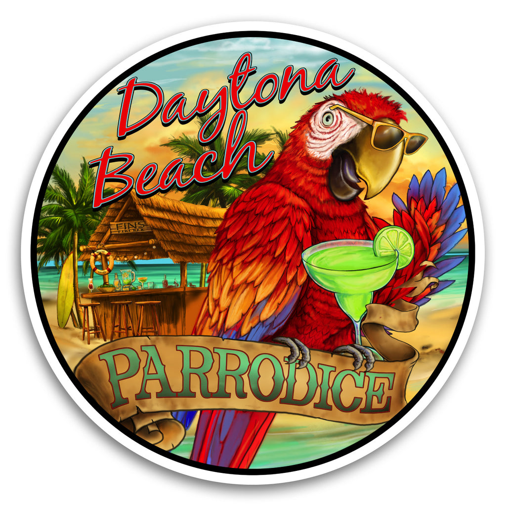 "Daytona Beach, FL Parrodice 4"" Sticker"