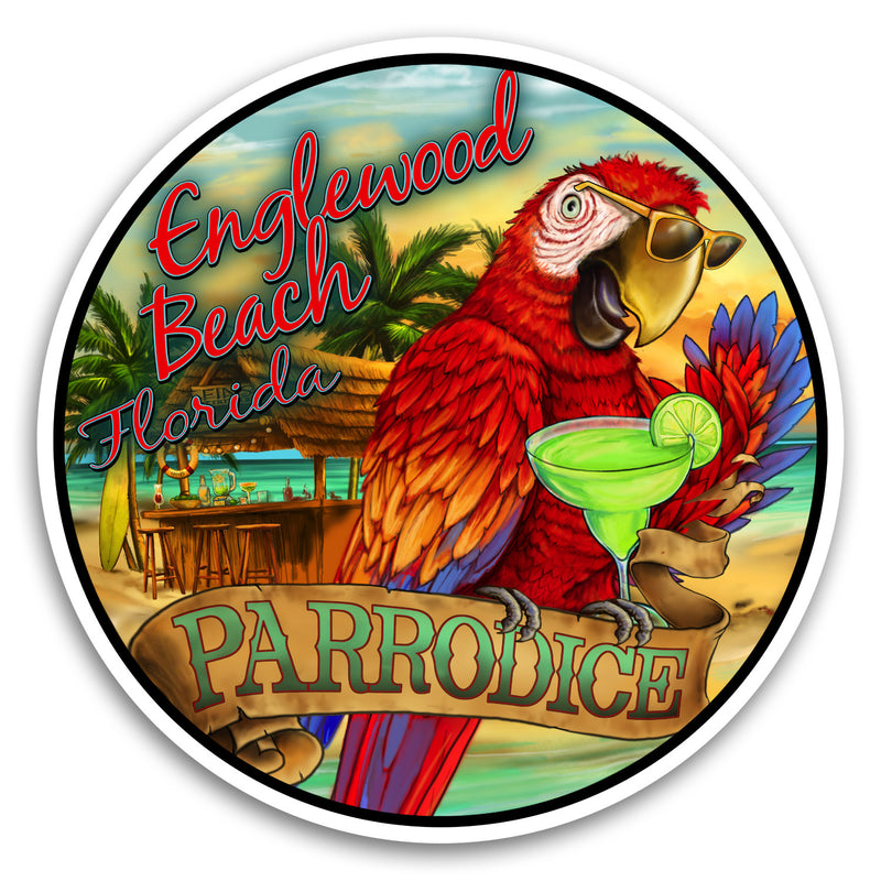 "Englewood Beach, FL Parrodice 4"" Sticker"