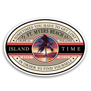 "Fort Myers Beach, FL Island Time 5.5"" Sticker"