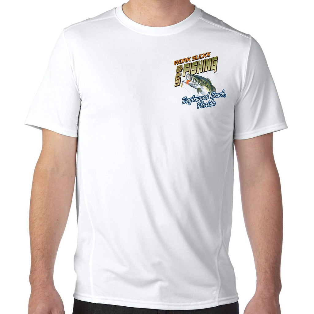 Englewood Beach, FL Work Sucks, Let's Go Fishing Performance Tech T-Shirt
