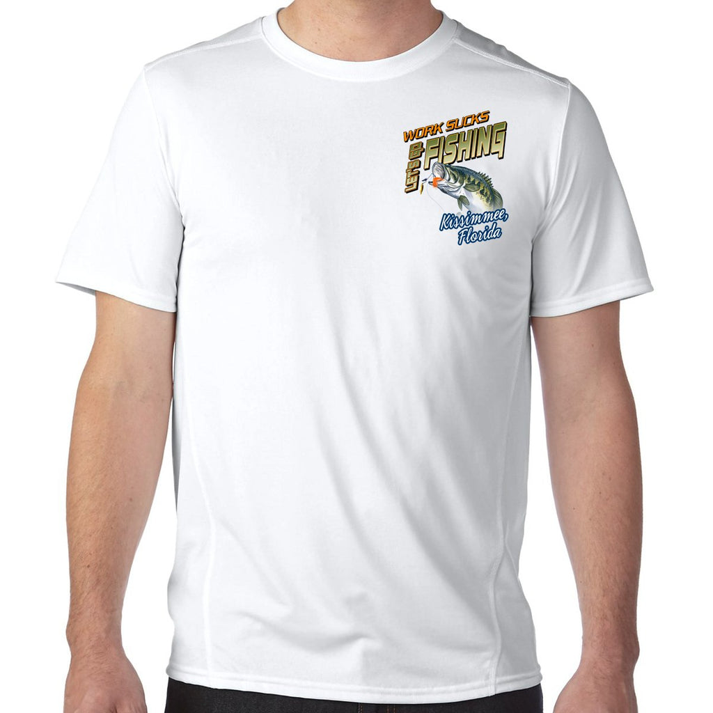 Kissimmee, FL Work Sucks, Let's Go Fishing Performance Tech T-Shirt