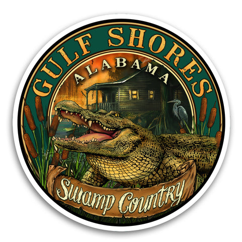 "Gulf Shores, AL Gator 4"" Sticker"