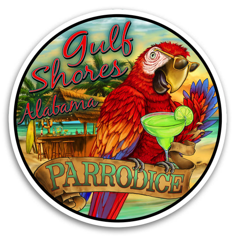 "Gulf Shores, AL Parrodice 4"" Sticker"