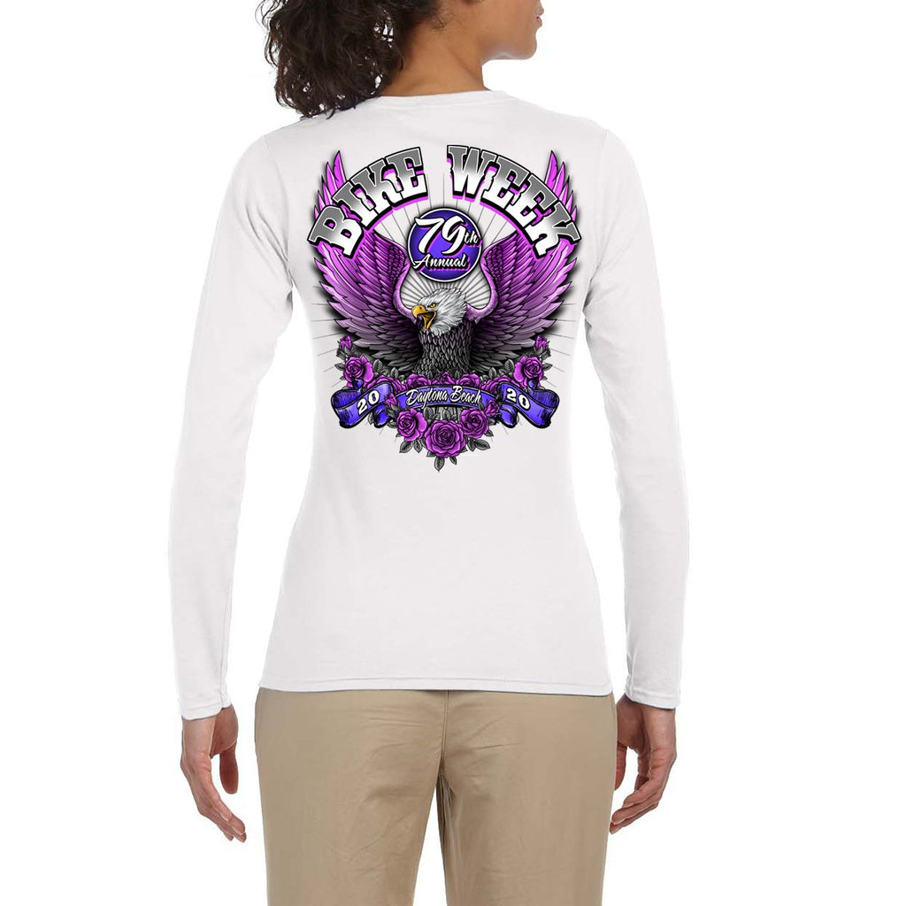Ladies 2020 Bike Week Daytona Beach Pink Eagle Long Sleeve T-Shirt