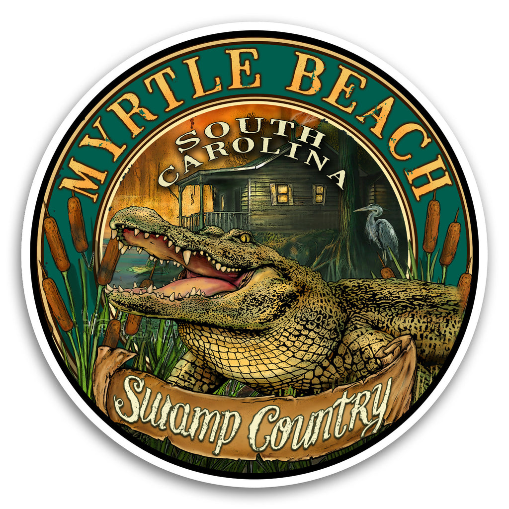 "Myrtle Beach, SC Gator 4"" Sticker"