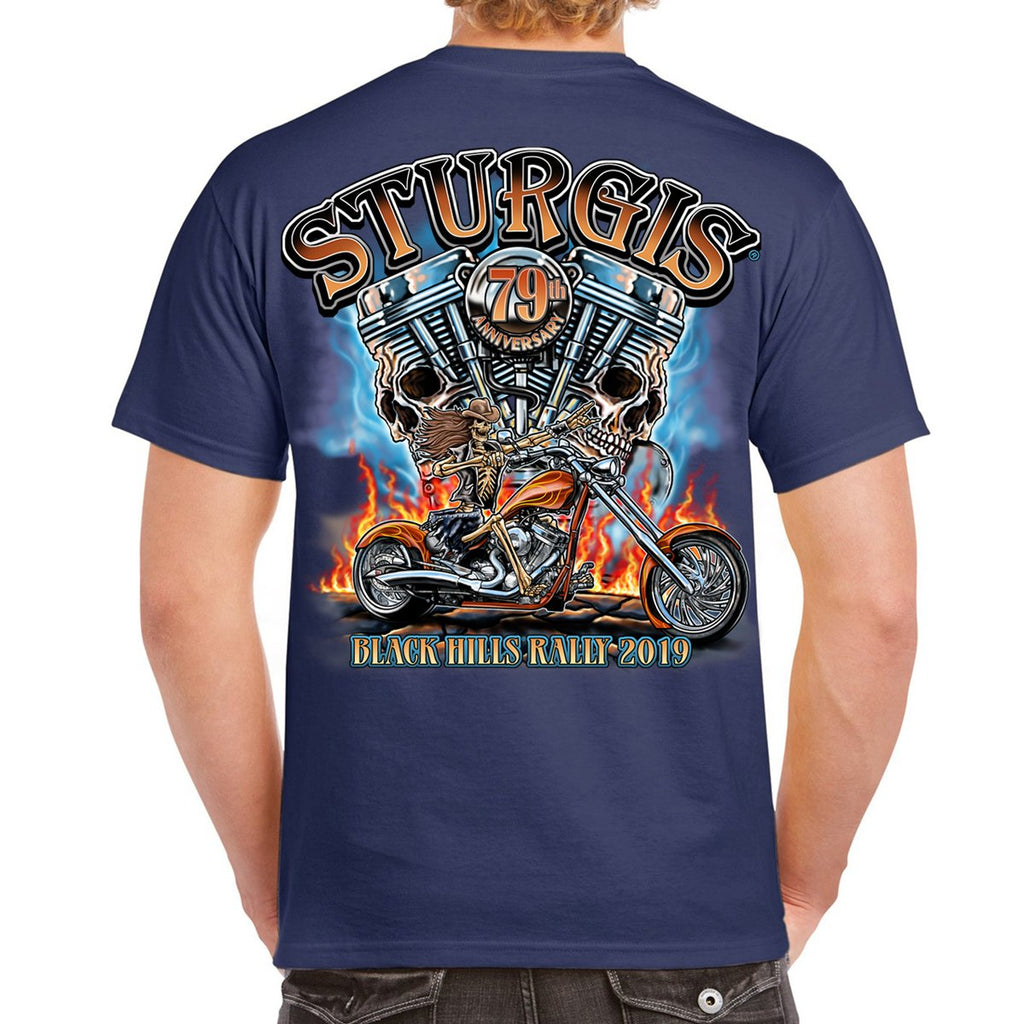 2019 Sturgis Black Hills Rally Skull Engine Rider T-Shirt