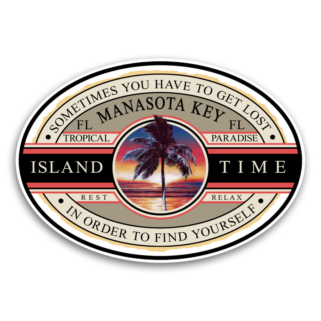 "Manasota Key, FL Island Time 5.5"" Sticker"