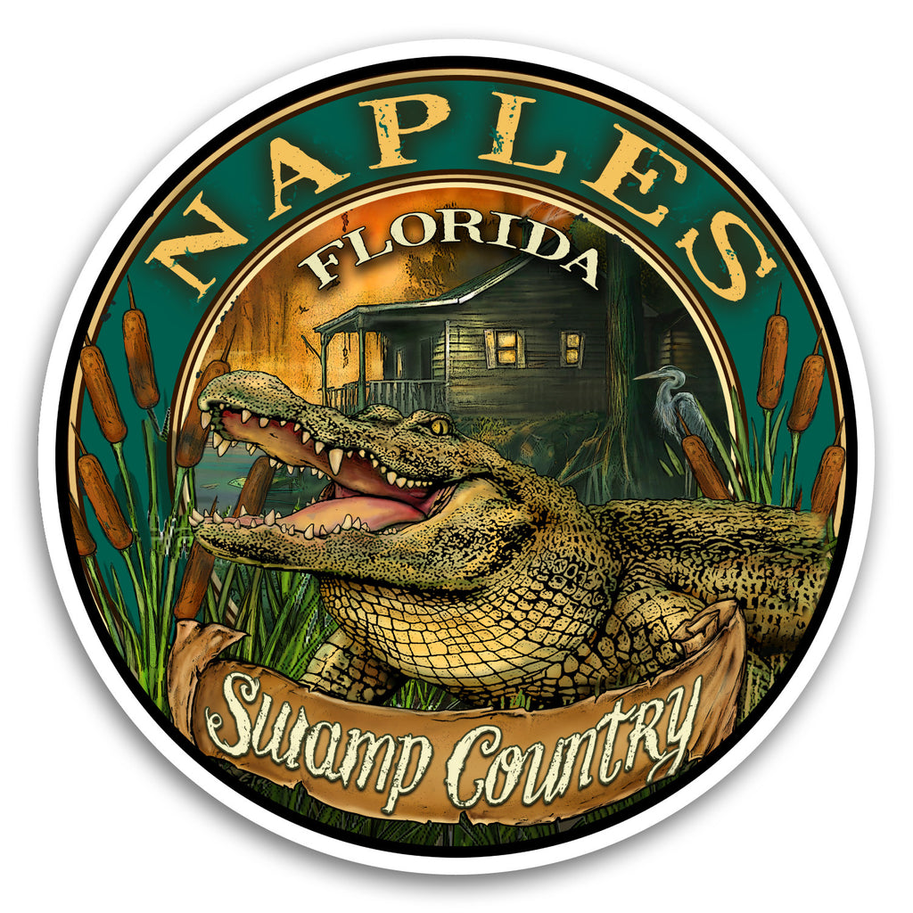 "Naples, FL Gator 4"" Sticker"