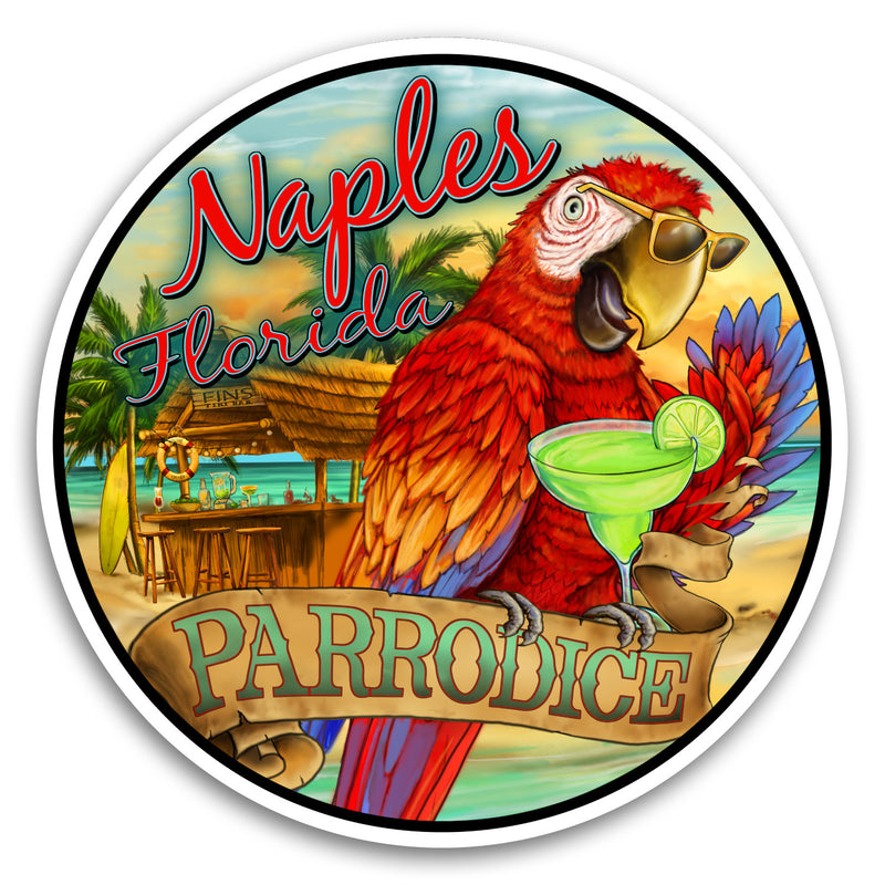 "Naples, FL Parrodice 4"" Sticker"