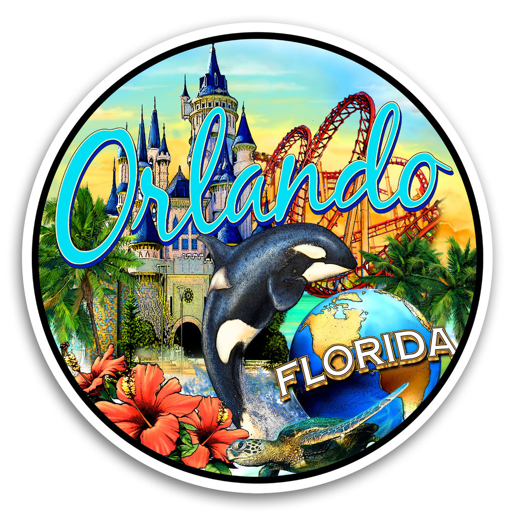 "Orlando, FL Collage 4"" Sticker"
