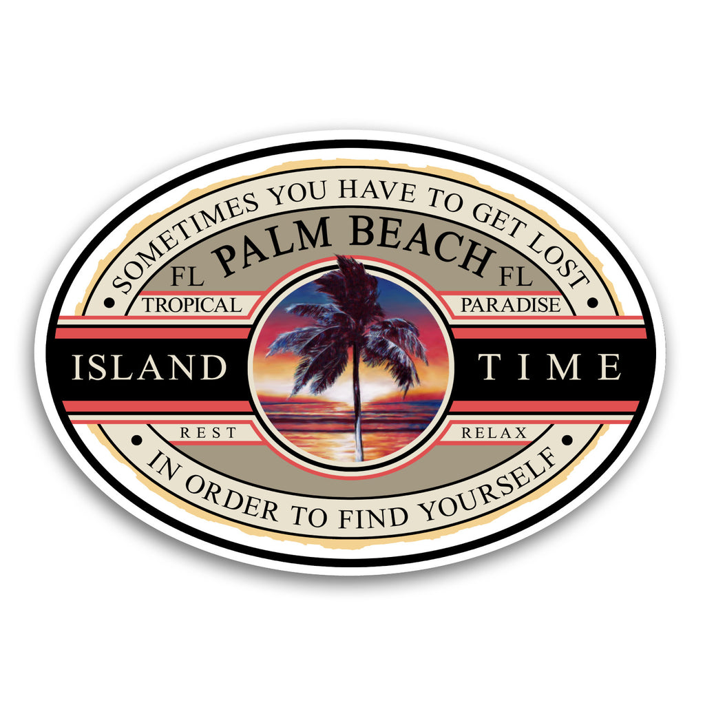 "Palm Beach, FL Island Time 5.5"" Sticker"