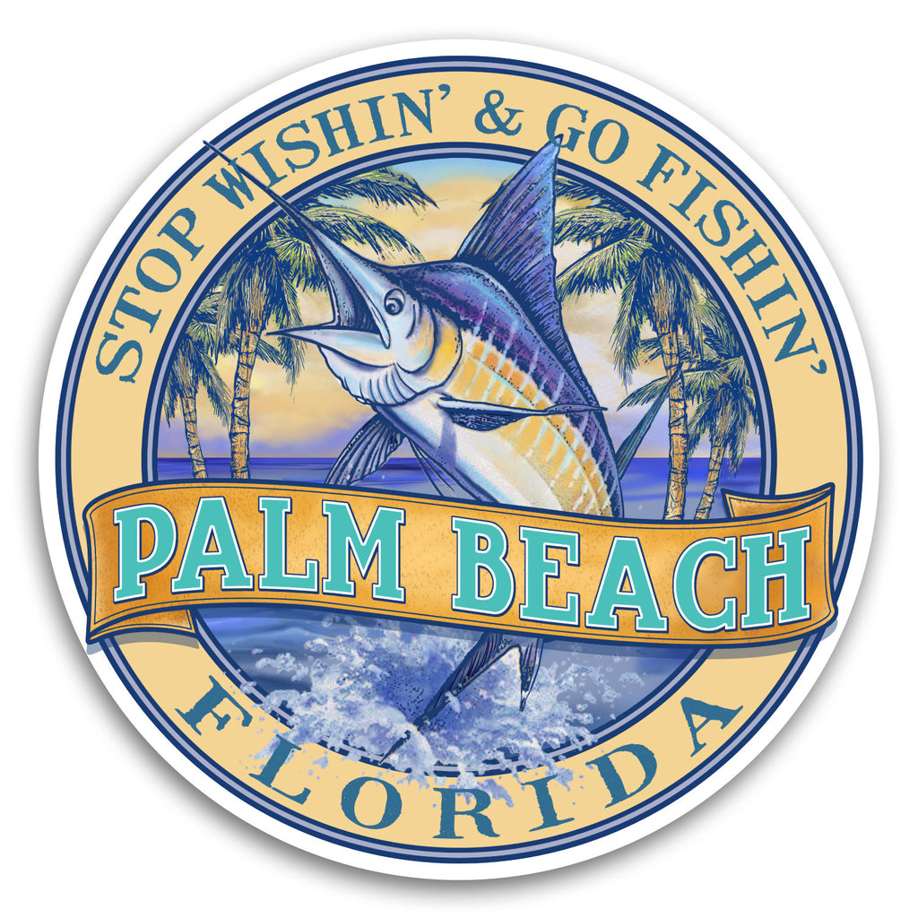 "Palm Beach, FL Marlin Fishin' 4"" Sticker"