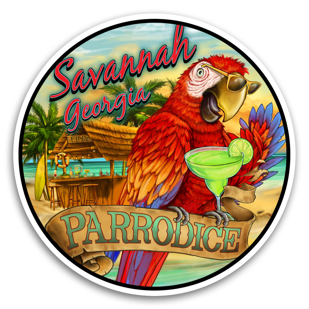 "Savannah, GA Parrodice 4"" Sticker"