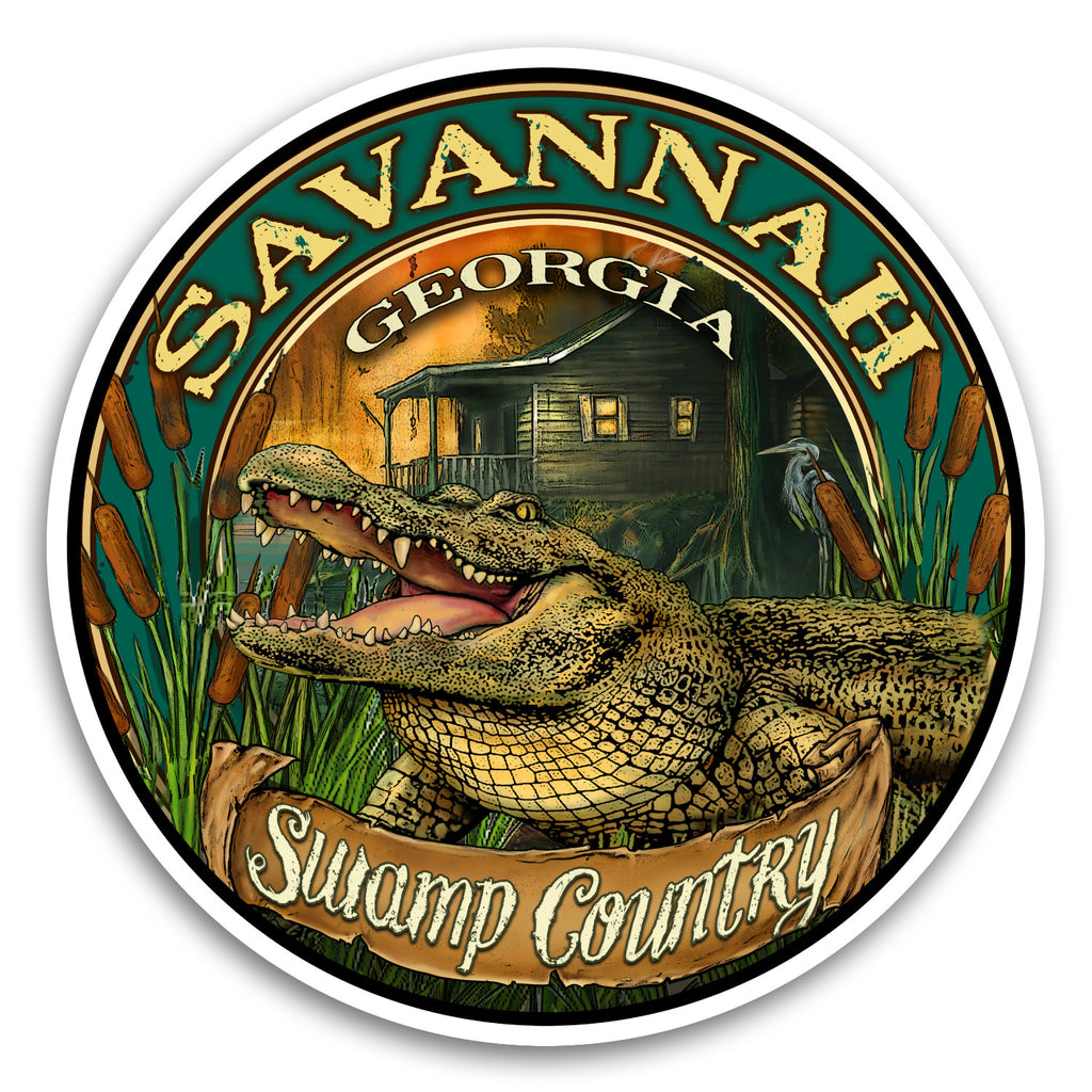 "Savannah, GA Gator 4"" Sticker"