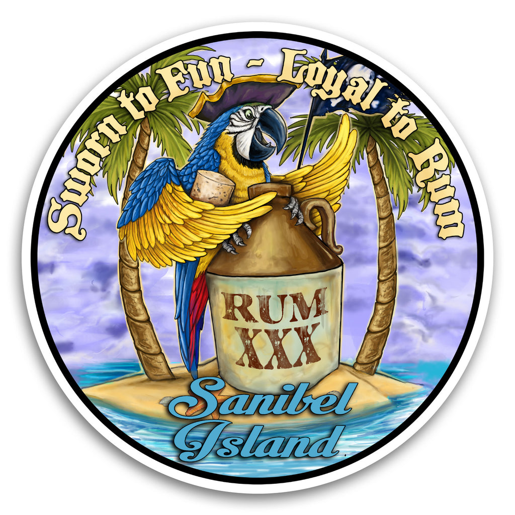 "Sanibel Island, FL Rummy Parrot 4"" Sticker"