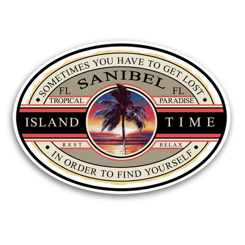 "Sanibel Island, FL Island Time 5.5"" Sticker"