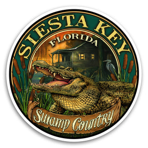 "Siesta Key, FL Gator 4"" Sticker"