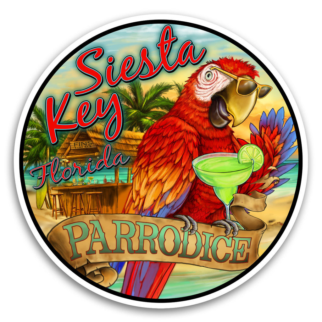 "Siesta Key, FL Parrodice 4"" Sticker"