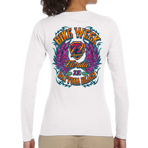 Ladies 2020 Bike Week Daytona Beach Neon Chick Long Sleeve Shirt