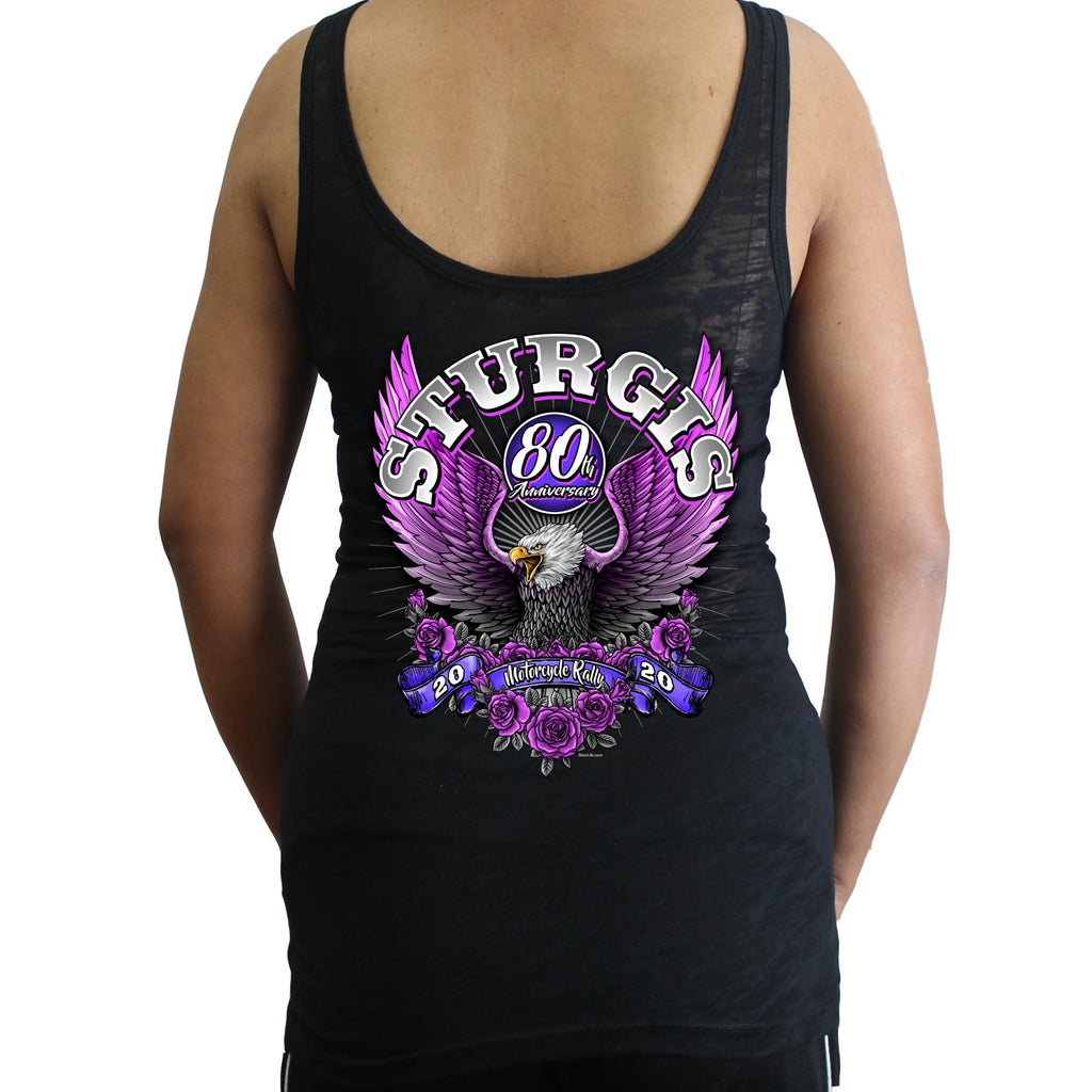 Ladies 2020 Sturgis Motorcycle Rally Pink Eagle Burnout Tank Top