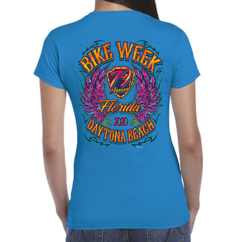 Ladies 2020 Bike Week Daytona Beach Neon Chick Cap Sleeve Tee