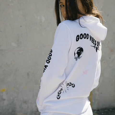 White Good Vibes Only Doodle Hoodie