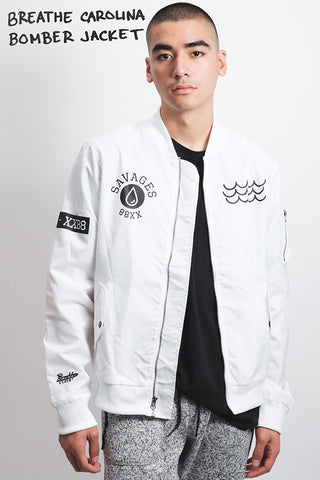 Breathe Carolina white Bomber jacket