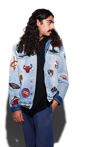 NBA Patchwork Denim Jacket for men