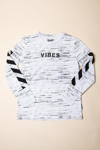 BOYS WHITE VIBES LONG SLEEVE TEE