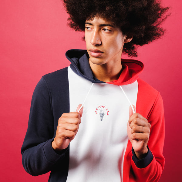 Color block red and white blue hoodie