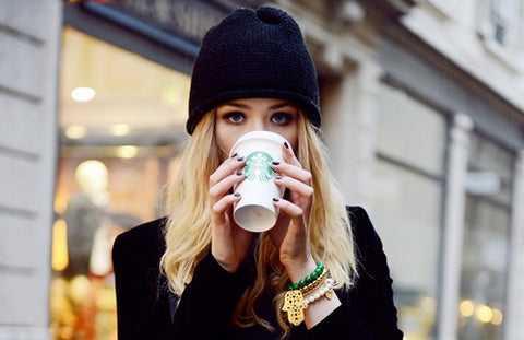 Hipster Girl drinking Flat White Coffee