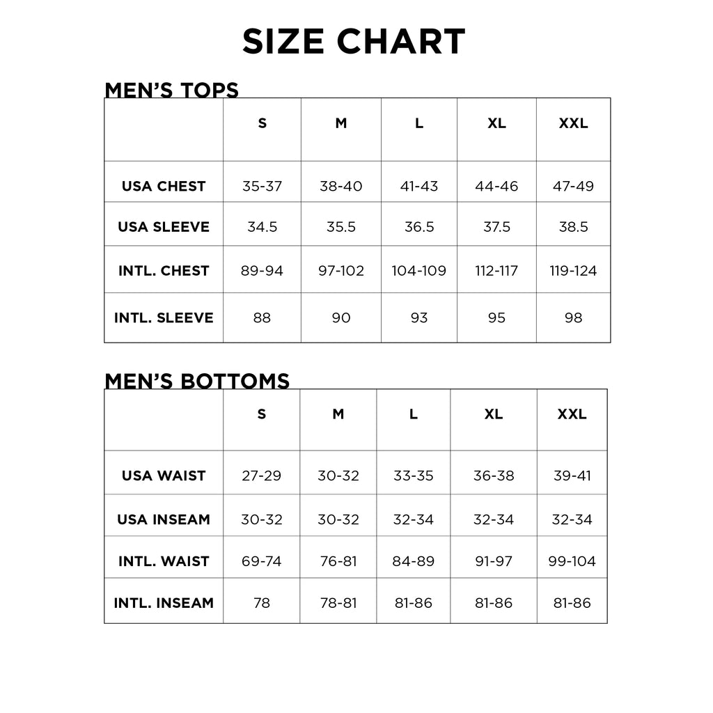 Men's And Youth Size Charts