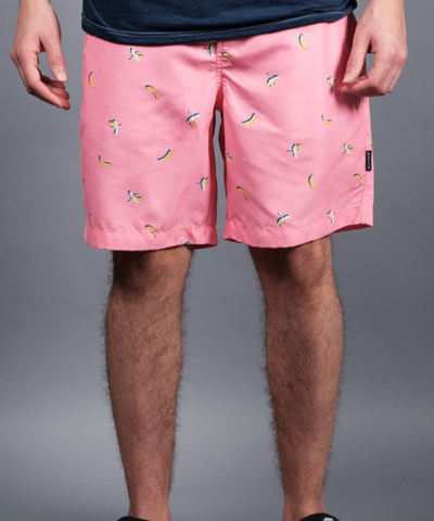 Pink Banana Print Swim Trunks
