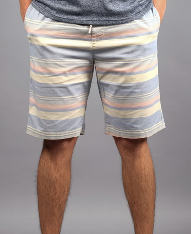 Navy Striped Poplin Shorts