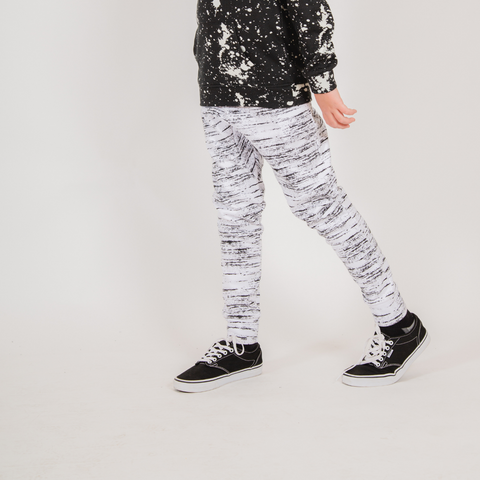 Core White Printed Space Dye Boy's Joggers by Brooklyn Cloth