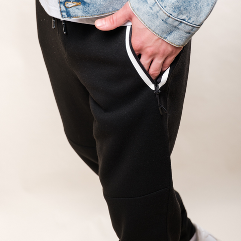 Men's Black and White Heat Seal Fleece Jogger Pants from Brooklyn Cloth