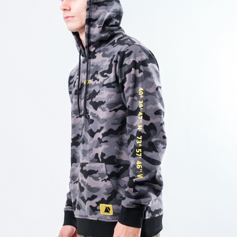 Men's Black Camo Embroidered Hidden Hoodie from Brooklyn Cloth