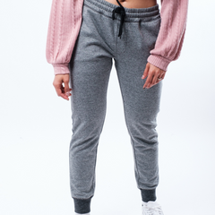 Women's Black Marl Zip Pocket French Terry Jogger from Brooklyn Cloth