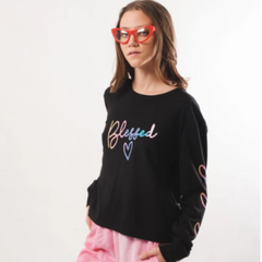 Women's Black Blessed Ombre Long Sleeve Tee by Brooklyn Cloth
