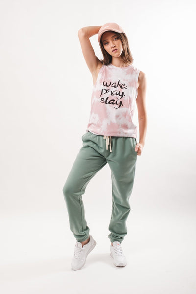 women's soft moss pop color jogger by Brooklyn Cloth