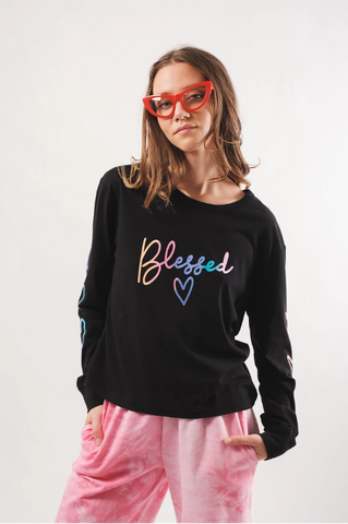Black Blessed Ombre Long Sleeve Tee by Brooklyn Cloth